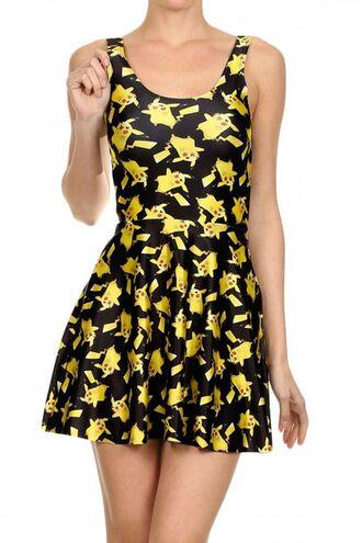 dress pikachu pokemon yellow dress yellow spandex geek lovely japan japanese fashion sleeveless sleeveless dress video games short short dress