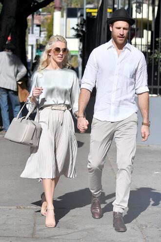 skirt blouse julianne hough top midi skirt belt pleated bag