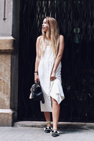 dress tumblr midi dress slip dress white dress button up shoes babouches bag summer dress summer outfits