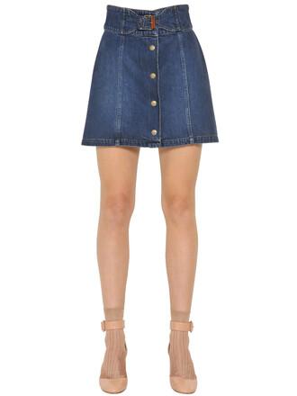 skirt denim cotton blue