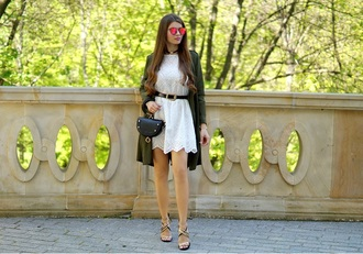 only my fashion style blogger dress bag shoes jewels coat white dress green coat sandals spring outfits