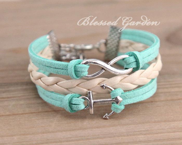 Armband, minze grüne armband, minze, grünem leder, infinity armband, anker armband, brautjungfer armband, freundschaft