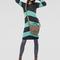Cute girly knitwear striped fall tunic dress