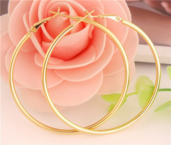 HOT NICE 14K Gold filled Pretty Classic Circle Hoop Earrings