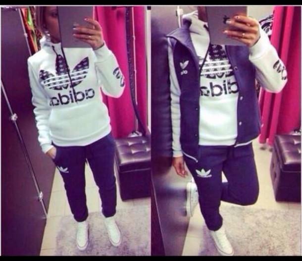 jacket tracksuit black white women adidas 1c3f057c94
