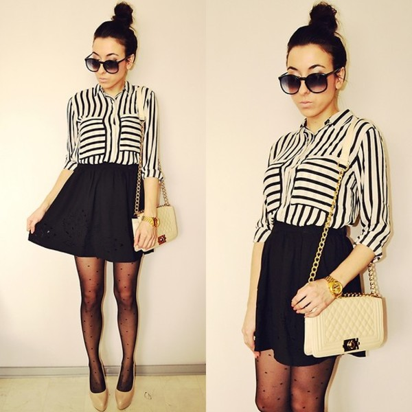 shirt striped shirt skater skirt crossbody bag polka dots gold bag tights