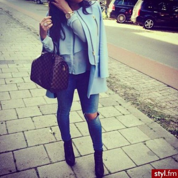 chic bleu bleu coat zip elegant elegant coat chic coat