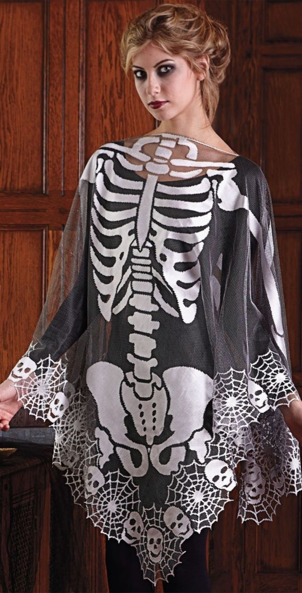 blouse halloween outfit skeleton poncho red lipstick make-up black blouse