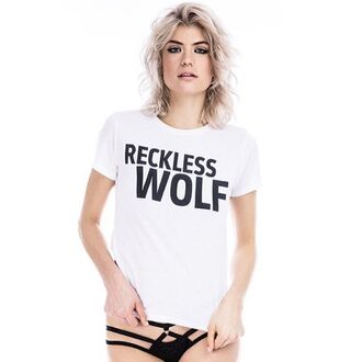 t-shirt reckless wolf lingerie sexy black lingerie top white top love pretty fashion women bra bralette outfit girl style style me