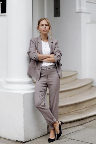 jacket white top tumblr blazer grey blazer matching set power suit work outfits pants grey pants shoes slingbacks top t-shirt