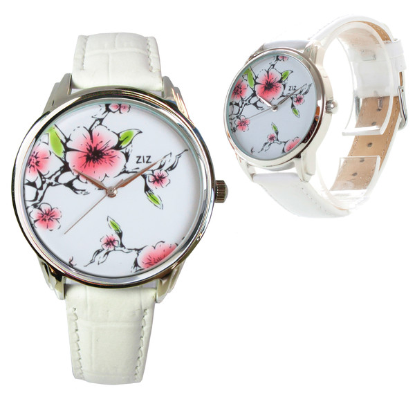 jewels watch watch floral watch white pink leather watch unique watch unusual watch romantic watch beautiful watch designer watch flowers ziz watch ziziztime