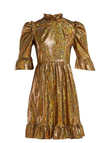 Batsheva - Ruffle Trimmed Lamé Mini Dress - Womens - Gold