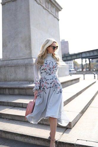 dress tumblr blue dress floral floral dress midi dress long sleeves long sleeve dress bag pink bag sunglasses cat eye baby blue wedding wedding clothes pastel pastel dress atlantic pacific blogger