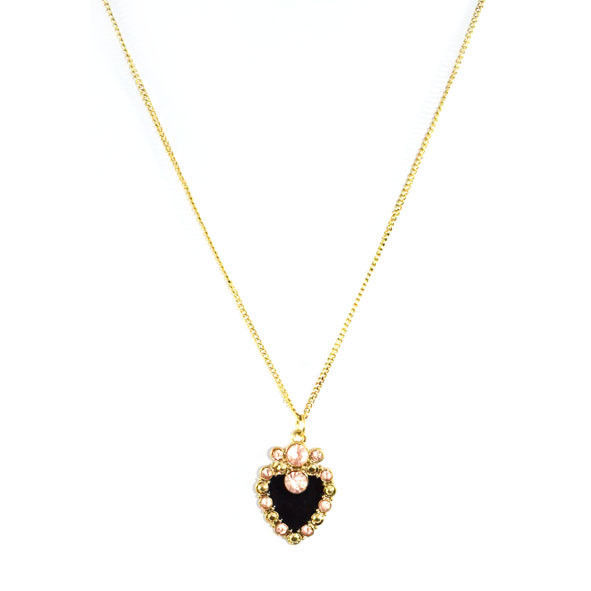 GOLD TONE WITH CRYSTALS HEART PENDANT NECKLACE - Rings & Tings | Online fashion store | Shop the latest trends