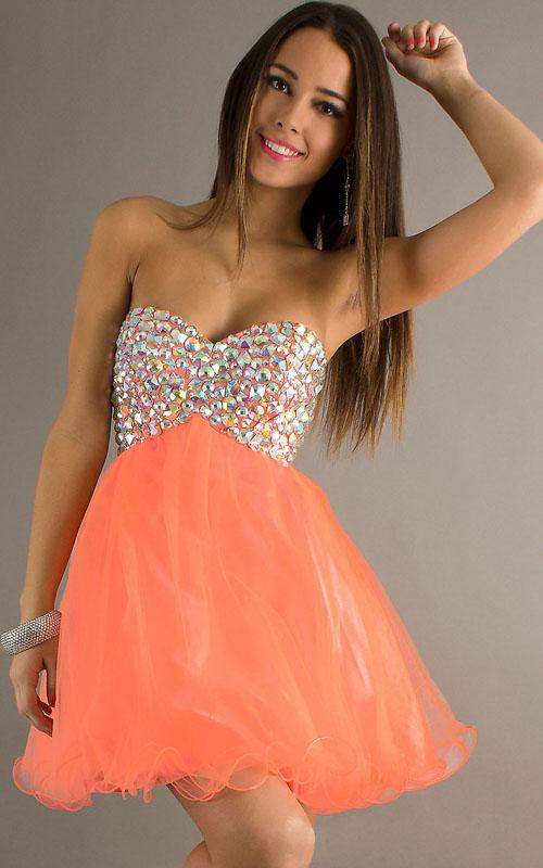 Line ruffles mini homecoming dress [orange multi jewels corseted]