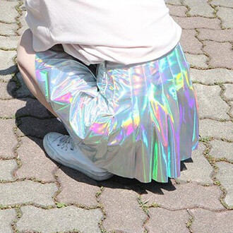 skirt metallic silver rainbow fashion style trendy holographic skater skirt