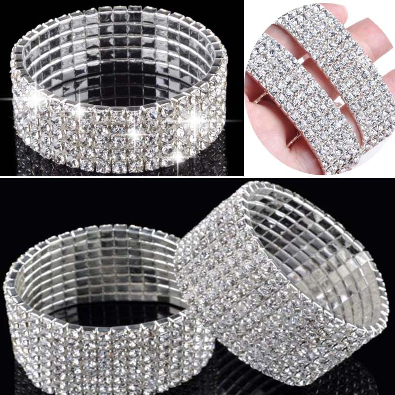 Hot  Fashion 4/5/8 Rows Crystal Rhinestone Wedding Bridal Bracelet Bangle Bling Wristband Women Jewelry Free SHip-in Charm Bracelets from Jewelry on Aliexpress.com