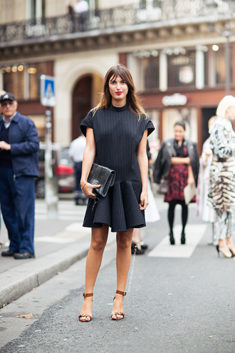 dress jeanne damas black dress mini dress sandals sandal heels high heel sandals bag black bag short sleeve dress