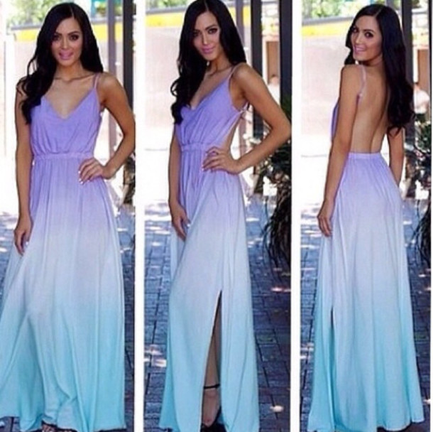 Dress: purple, blue, ombre, maxi dress - Wheretoget