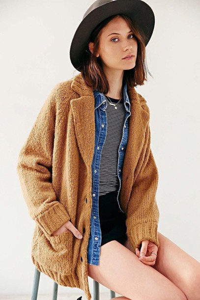 coat rolled up sleeves too expensive stripes jacket urban outfitters hipster fall outfits denim jacket denim brown wool oversized cardigan oversized button up comfy hat wide brim black hat aesthetic