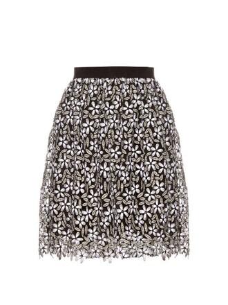 skirt lace skirt daisy lace white black