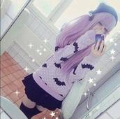 shirt,pastel purple,pastel grunge,kawaii grunge,pastel goth,kawaii,bats