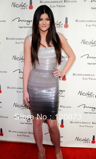 2014 free shipping Kylie Jenner Sequin Grey Ombre Bandage Dress gradient hl ladies party evening dress wholesale dropshipping-in Celebrity-Inspired Dresses from Apparel & Accessories on Aliexpress.com