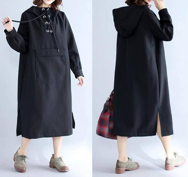 dress black dress long hooded dress