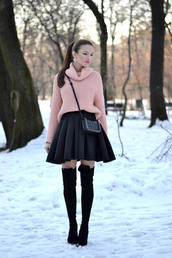 my silk fairytale,blogger,knitted sweater,circle skirt,black skirt,baby pink