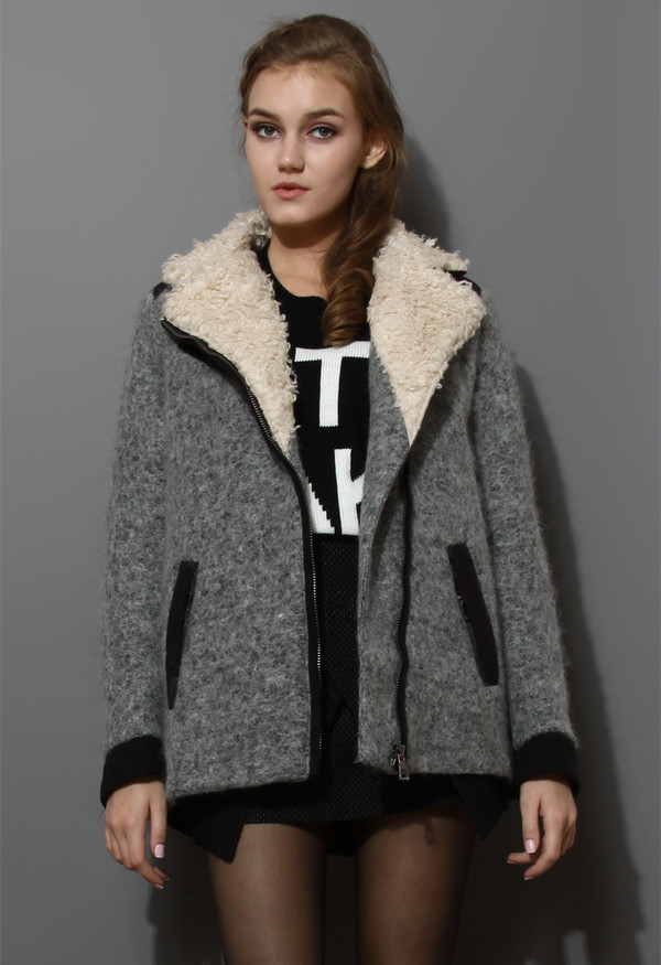 jacket shearing wool tweed coat grey
