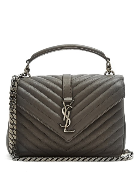 Saint Laurent cross quilted bag leather dark grey