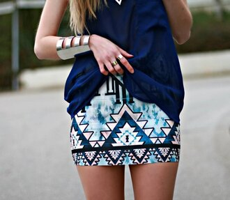 skirt azteque jupe asymétrique jupe aztèque jupe jupe bleue azt?que summer summer skirts fashion blue shirt
