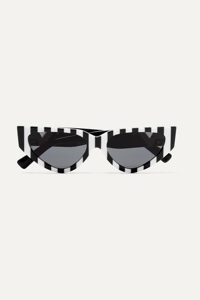 Valentino - Valentino Garavani Cat-eye Striped Acetate Sunglasses - Black - Valentino Garavani Cat-eye Striped Acetate Sunglasses