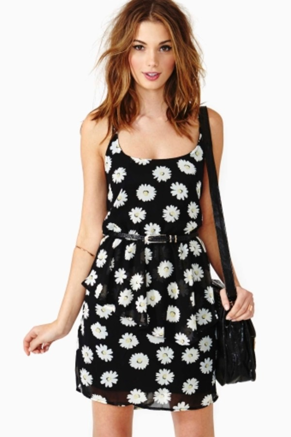 dress daisy daisy dress black peplum dress cute brandy melville black dress with white and yellow daisies