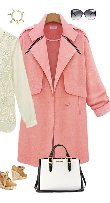 """pink life"" long linen zipper jacket coat – glamzelle"