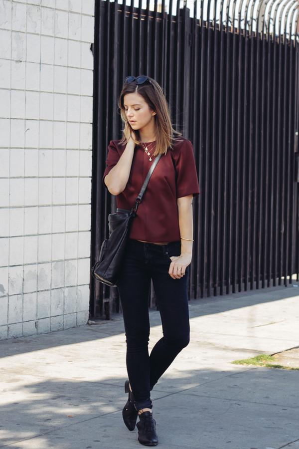 take aim blogger jeans bag sunglasses jewels burgundy t-shirt