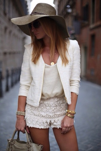 jacket white jacket shorts shirt high heels chiffron top, lace bustier, lace, white top, white , blazer, lace short, pretty, fashion, style chiffron chiffon blouse white chiffon skirt white lace shorts white lace dress high waisted denim shorts l.a. style l.a.