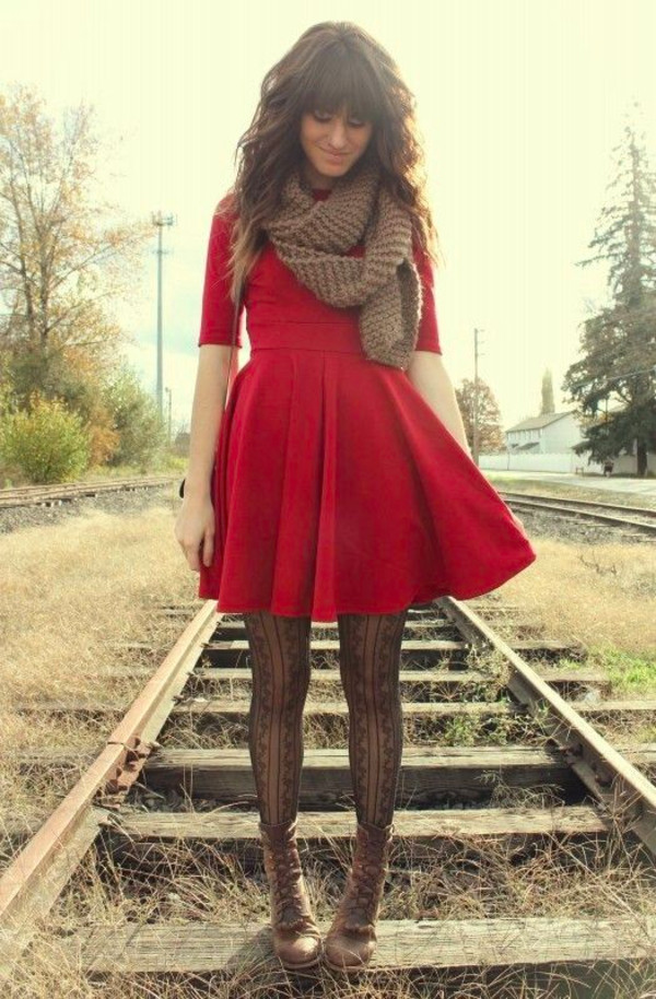dress red dress tights shoes pants red sleeves