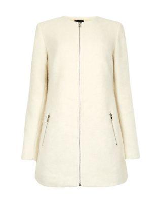 Wool Mix Zip Up Collarless Coat