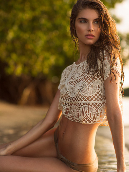 crochet white lace shirt swimwear beach crochet crop top rash guard