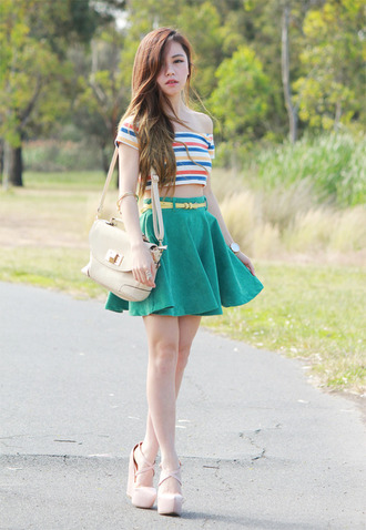 chloe ting t-shirt skirt jewels bag shoes