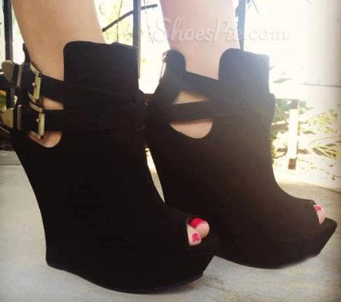 Comfortable Black Suede Wedge Heel Ankle Strap Boots