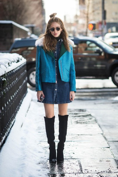 the blonde salad blogger dress fashion week 2015 denim dress blue jacket winter jacket