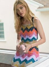 skirt,top,colorful,nicola peltz,sequins,two-piece,summer,embellished top