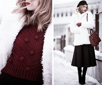 tini tani blogger knitted sweater burgundy sweater fuzzy coat white coat fisherman cap leather bag winter outfits texture sweater bag skirt