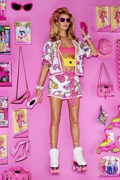 jacket shorts rosie huntington-whiteley pink barbie