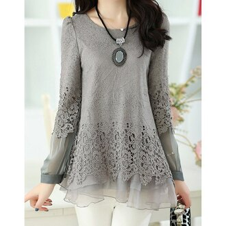 top fashion grey style long sleeves chiffon embroidered lace girly sweet scoop neck lace splicing long sleeve women's t-shirt cute winter outfits rosegal-dec