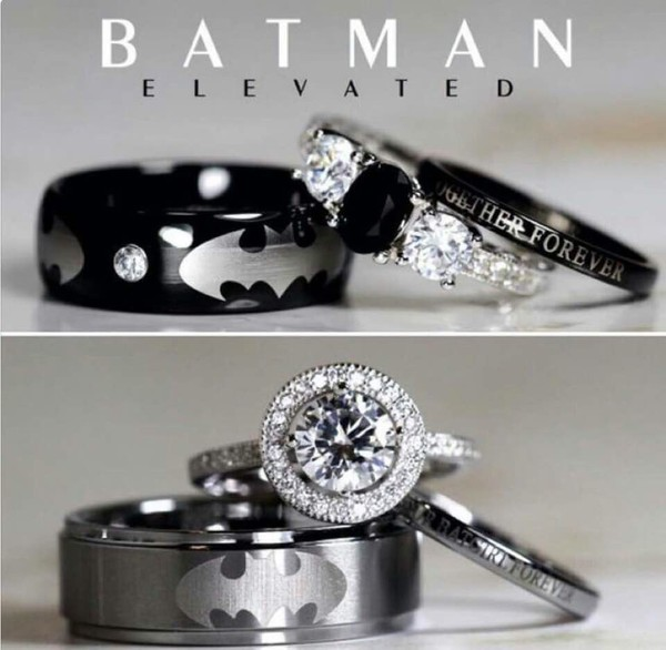 Batman tungsten and 925 sterling silver 2 carat cz wedding for Batman wedding rings for men