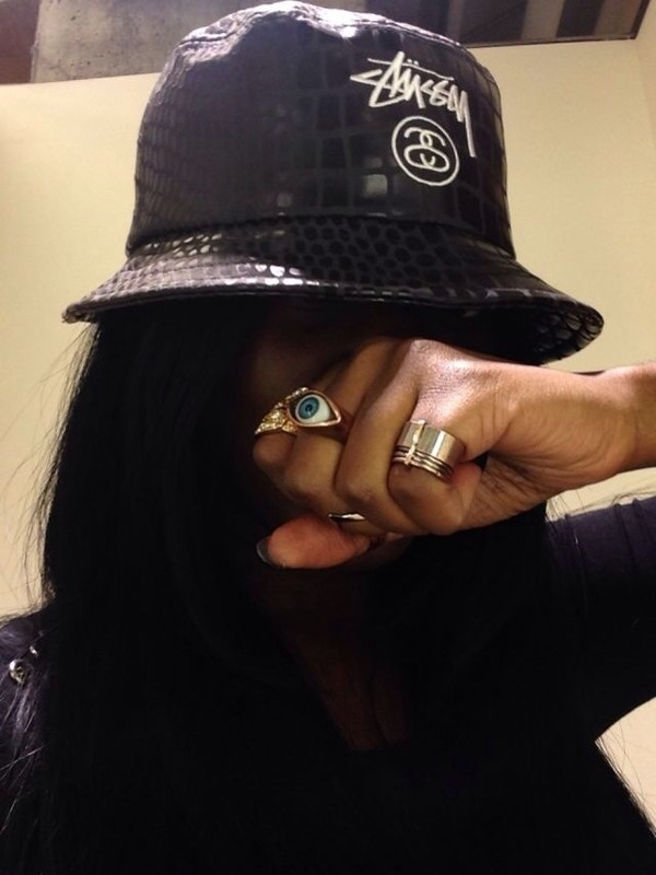 hat bucket hat stussy black white tumblr jewelery ring snake scales scale pattern jewels
