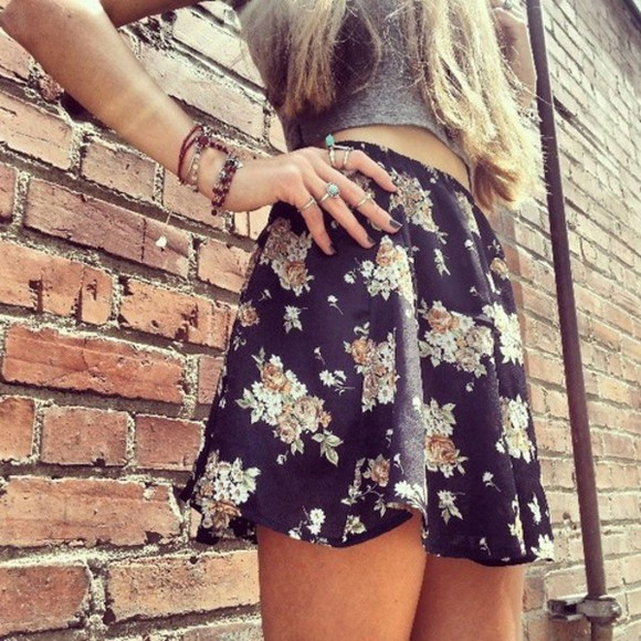 skirt summer outfits blue black floral short summer outfits pattern grey top jewels